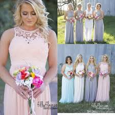 2017 new country style cheap bridesmaid dresses grey blue pink