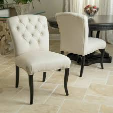 Jaelynn Beige Pattern Fabric Dining Chairs (Set Of 2)