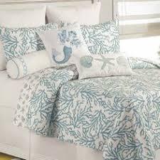 Cora Blue Coral Cotton Coastal Quilt Bedding guest bedroom