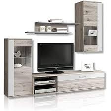forte moderne wohnwand mit beleuchtung holz sandeiche dekor kombiniert mit weiß 213 x 41 3 x 184 cm