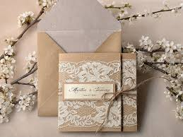 Custom Listing 20 Recycling Paper Lace Wedding Invitation Pocket Fold Rustic