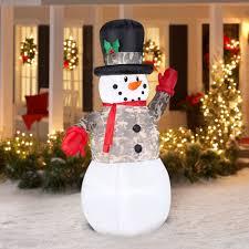 Frosty Snowman Christmas Tree by 7 U0027 Airblown Inflatable Snowman In Camo Christmas Inflatable