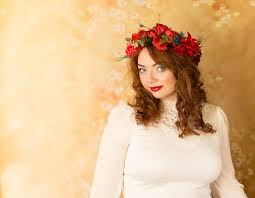 Wedding Flower Crown Red Poppies Bridal Headpiece Accessories Rustic Head Wreath Headband