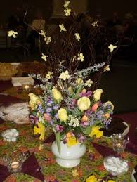Spritely Spring Centerpiece With Twigs And Blossoms For A Buffet Table Expressed In