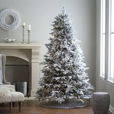 Pre Lit Flocked Christmas Trees Lightly Pine Full Tree In White 5ft