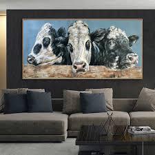 abstrakte ölgemälde tier poster und drucke bunte kuh