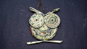 Paper Owl Craft From Rolled Newspaper