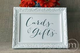 Cards Gifts Wedding Reception Sign Handwritten Style