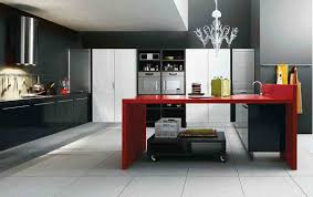 Marvelous Italian Kitchen Decor With Black Cabinet And Red Table