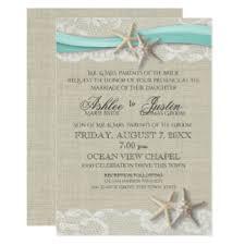 Starfish And Lace Rustic Beach Aqua Wedding Card