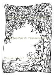 ZentangleR Tropical Trees Inspired Colorable DIY Zendoodle PDF Printable Coloring Sheet Digital Download