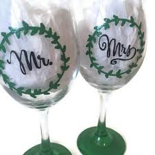 Mr And Mrs Hand Painted Wine Glass Rustic Wreath Wedding Glasses