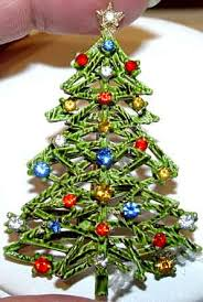Description ART Cut Out Christmas Tree Pin With Multi Rhinestones