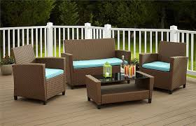 Amazon Cosco Products 4 Piece Malmo Resin Wicker patio Set Brown with Teal Cushions Kitchen & Dining