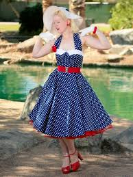 50s Style Navy White Polka Dot Halter Dress