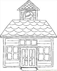 Trend School House Coloring Page 88 On Free Kids With