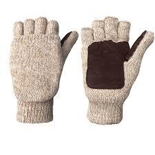 winter warm wool knitted convertible fingerless gloves with mitten