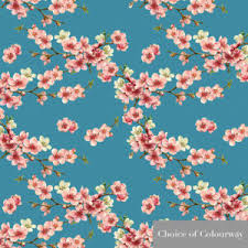 Cherry Blossom Curtain Blue by Designer Upholstery Curtain Vintage Floral Fabric Cherry Blossom