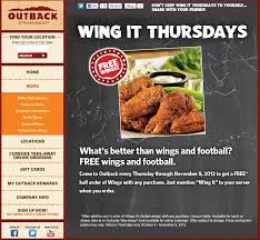 Free Half Order Of Wings With Any Order Thursdays At Outback ... Can I Eat Low Sodium At Outback Steakhouse Hacking Salt Gift Card Eertainment Ding Gifts Food Steakhouse Coupon Bloomin Ion Deals Gone Wild Kitchener C3 Coupons 1020 Off Coupons Free Appetizer Today Parts Com Code August 2018 1for1 Lunch Specials Coupon From Ellicott City Md On Mycustomcoupon Exceptional For You On The 8th Day Of