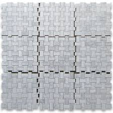 carrara white 1x2 basketweave mosaic tile w carrara white dots