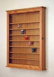 72 Oak Shot Glass Display Case Wall Cabinet Rack