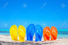Colorful Beach Flip Flops Sandals On The