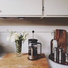 Coffee Flowers Peonies French Press Kitchen Counter