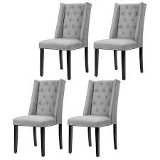 100 Side Dining Chairs Product Set Of 4 Grey Elegant Button Tufted Fabric W