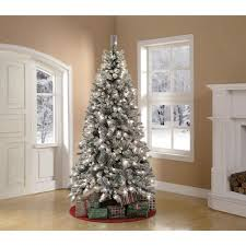 75 Flocked Christmas Tree by Artificial Christmas Tree Pre Lit 7 5 U0027 Winter Frost Pine Green