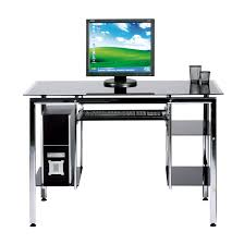 Funiture Modern puter Desks Ideas With Black Tempered Glass