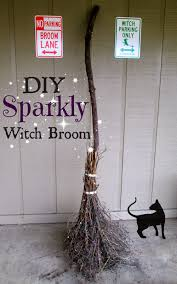 Halloween Witch Yard Stakes by The Rehomesteaders Diy Sparkly Witch Broom Halloween Fun