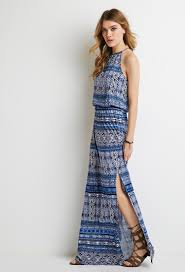 forever 21 print maxi dress in blue lyst