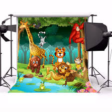 Amazoncom Yeele 6x6ft Cartoon Animal World Baby Shower Backdrops