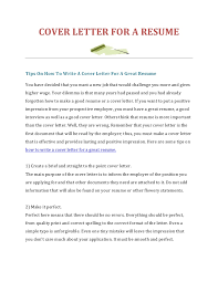 COVER LETTER FOR A RESUMETips On How To Write Cover Letter For Great ResumeYou