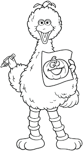 Sesame Street Elmo Coloring Pages Free Big Bird Book Printable Page Halloween Alphabet