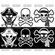 Jolly Roger Pirate Attributes Skull And Crossbones Silhouette 22064 Vector Clipart