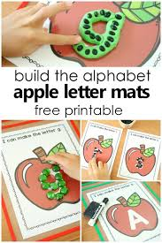 Build The Alphabet Apple ABC Letter Mats Free Printable Pre Writing Activities For Preschool And