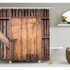 Rustic Decor Shower Curtain Set Dated Simple Door Like In Construction Vertical Barns House Nobody Bohemian Print Bathroom Accessories