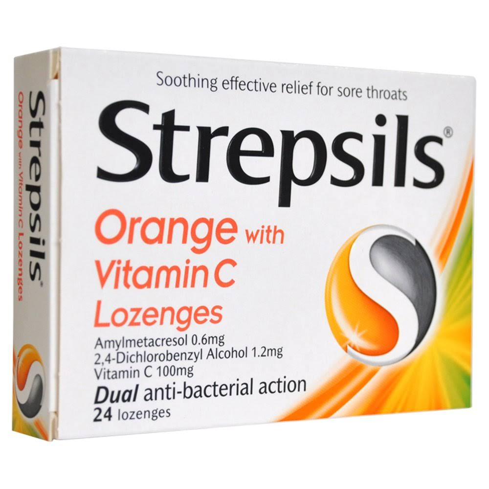 Strepsils Lozenges - Orange & Vitamin C, x24