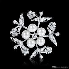 2018 Wholesale Jewelry Set Flower Cz Stone Pearl Lapel Pin Brooch