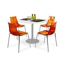 table et 4 chaises table de cuisine ronde et 4 chaises pvc orange