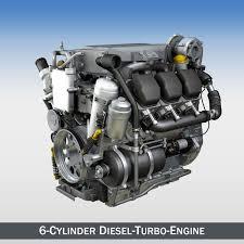 100 Truck Turbo Diesel 6cylinder Engine 3D Model