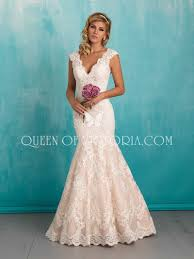 Mermaid V Neck Sleeveless Floor Length Elegant Lace Wedding Dress