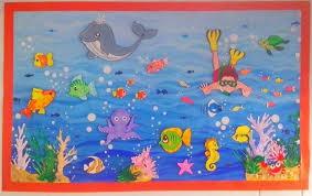 Aquarium Wall Decoration Idea For Pre School Kids