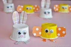 Chick Bunny Mini Party Cup Craft Could Also Use Egg Cartons Instead Of The Cups