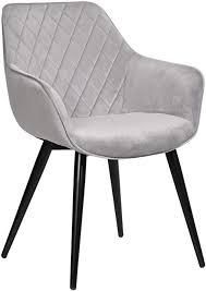 woltu esszimmerstühle bh153gr 1 1x küchenstuhl wohnzimmerstuhl polsterstuhl mit armlehen design stuhl samt metall grau