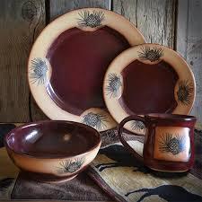 Vintage Pinecones Red Dinnerware