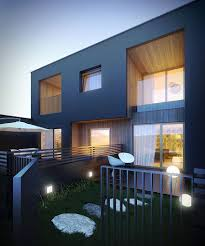 100 Modernhouse Modern House At Night NoTriangle 3D Rendering Studio NoTriangle