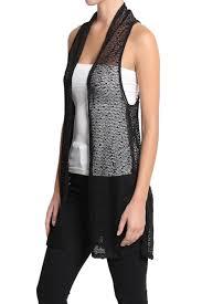 themogan sheer knit long vest sleeveless layering cover up