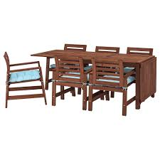 ÄPPLARÖ Table+6 Chairs W Armrests, Outdoor, Brown Stained, Kuddarna Light  Blue